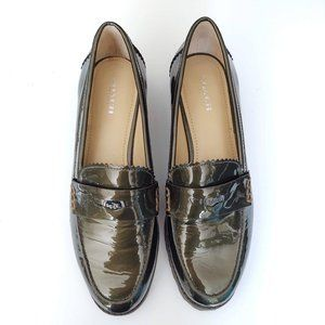 Olive green patent leather lug sole penny loafers